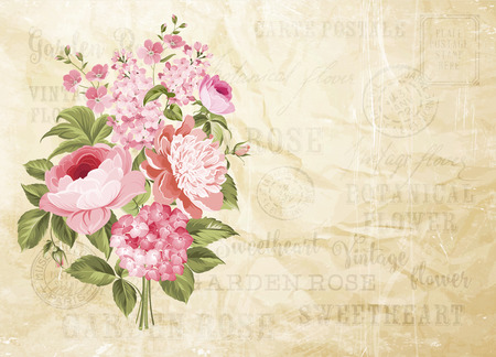 Flower garland for invitation card. Card template with blooming flowers and custom text. Vintage postcard background vector template for wedding invitation. Vector illustration.