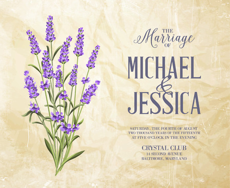 lavender oil: Bouquet of aromatic lavender flowers. Invitation card template with violet flowers of lavender. Vintage marriage invitation. Illustration