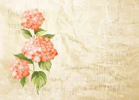 flower blooming: Flower garland for invitation card. Card template with blooming flowers and custom text. Vintage postcard background template for wedding invitation. Vector illustration. Illustration