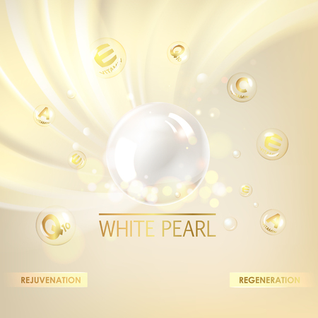 Shining golden essence droplet. Vitamin E drop with white sphere. Beauty treatment nutrition skin care design. Vector illustration.