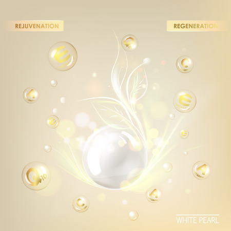 Beauty treatment nutrition skin care design. Vitamin E drop with white sphere. Regenerate cream and Vitamin Background of Concept Skin Care Cosmetic. Vector illustration. Çizim