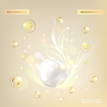 Beauty treatment nutrition skin care design. Vitamin E drop with white sphere. Regenerate cream and Vitamin Background of Concept Skin Care Cosmetic. Vector illustration. Vettoriali