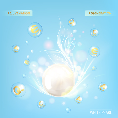 healthy woman: Regenerate cream and Vitamin Background of Concept Skin Care Cosmetic. Vitamin E drop with white sphere. Beauty treatment nutrition skin care design. Vector illustration. Illustration