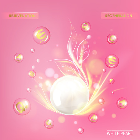 cosmetic: Shining golden essence droplet. Vitamin E drop with white sphere. Beauty treatment nutrition skin care design. Vector illustration.