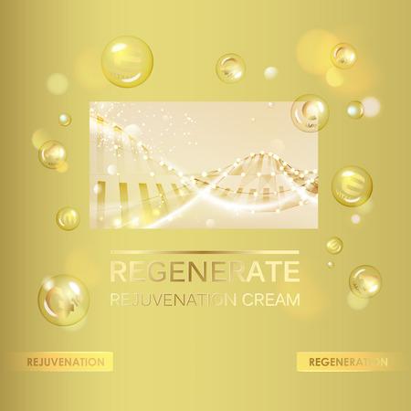 コラーゲン クリームとビタミン ドロップの概念肌ケア化粧品です。白い球とビタミン E ドロップします。美容治療栄養肌ケア ・ デザイン。ベクト