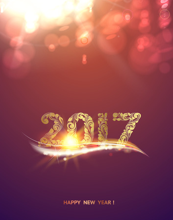 Gold template over purple background with golden bokeh. Happy new year 2017. Christmas card. Icon of the 2017 on the color bokeh background. Vector illustration. Illustration
