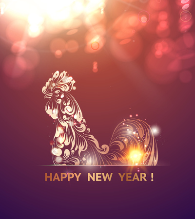 Fire Rooster symbol of the new year by Chinese calendar. Christmas card. Icon of the bird over purple bokeh background. Vector illustration.