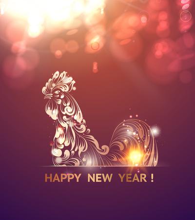 Feuer-Hahn Symbol des neuen Jahres von chinesischen Kalender. Weihnachtskarte. Symbol des Vogels über lila Hintergrund Bokeh. Vektor-Illustration. Illustration