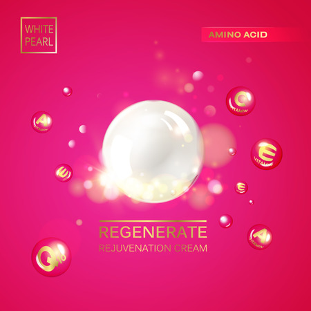 regenerate: Regenerate cream and Vitamin Background of Concept Skin Care Cosmetic. Vitamin E drop gold sphere. Beauty treatment nutrition skin care design. Vector illustration. Vector illustration. Illustration