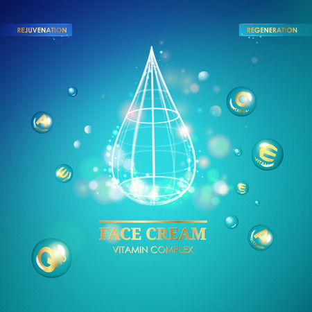 Regenerate face cream and Vitamin complex concept. Shining golden essence droplet. Vitamin E drop in form of sphere. Nutrition skin care design over blue backgound. Vector illustration.