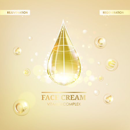 woman face cream: Regenerate face cream and Vitamin complex concept. Shining golden essence droplet. Vitamin E drop in form of sphere. Beauty skin care design over golden backdrop. Vector illustration. Illustration