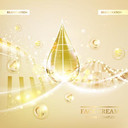 Regenerate face cream and Vitamin complex concept. Shining golden essence droplet. Vitamin E drop in form of sphere. Beauty skin care design over golden backdrop. Vector illustration. Illustration