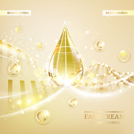 Regenerate face cream and Vitamin complex concept. Shining golden essence droplet. Vitamin E drop in form of sphere. Beauty skin care design over golden backdrop. Vector illustration. Illustration