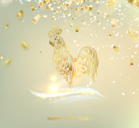 Chinese calendar symbol of 2017 year. Christmas card with icon of the bird over gray background. Happy new year card. Golden snow falls over light sky background. Vector illustration. Stock Illustratie
