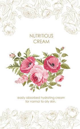 regenerate: Flower garland for label design. Regenerate cream with flowers. Concept for skin care cosmetic. Vector illustration. Vector illustration. Illustration