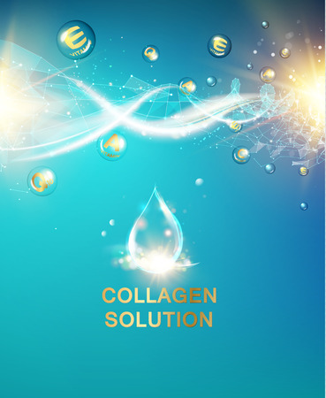 glowing skin: Scince illustration of a DNA molecule. Organic cosmetic and skin care cream. Vector illustration.