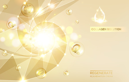 Regenerate face cream and Vitamin complex concept. Shining golden essence droplet. Vitamin E drop in form of sphere. Beauty skin care design over golden backdrop. Vector illustration. Vettoriali