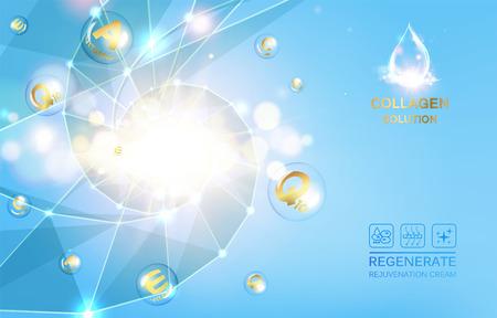 medicine logo: Scince illustration of a DNA molecule. Organic cosmetic and skin care cream. Vector illustration.