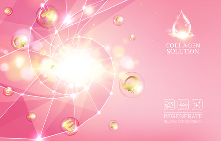complex: Regenerate face cream and Vitamin complex concept. Shining golden essence droplet. Vitamin E drop in form of sphere. Beauty skin care design over pink backdrop. Vector illustration.