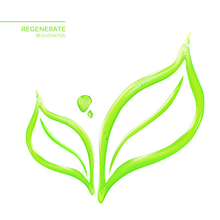 beauty skin: Abstract flower leaf in form of water drop. Skin care cosmetics for beauty skin. Organic cosmetic and skin care cream label template over white background. Vector illustration.