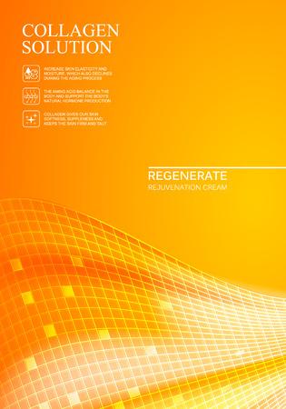 regeneration: Scince illustration of orange background with regeneration cream. Organic cosmetic and skin care cream. Orange background for label of collagen solution. Vector illustration. Illustration