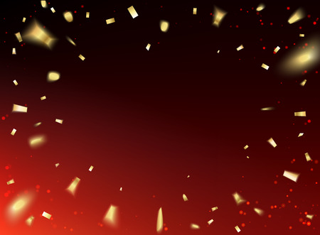 red sky: Golden confetti falls isolated over red sky background. Vector illustration. Illustration