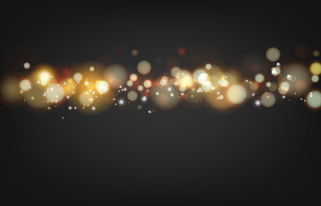 transparence: Soft bokeh and lights. Shiny sunburst of circle bokeh with the abstract black background. Abstract background. Gold template over black background with golden sparks.