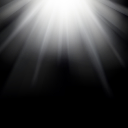 lucidity: Shiny sunburst of sunbeams on the black background. Stock Photo