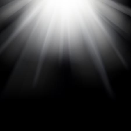 transparence: Shiny sunburst of sunbeams on the black background. Stock Photo