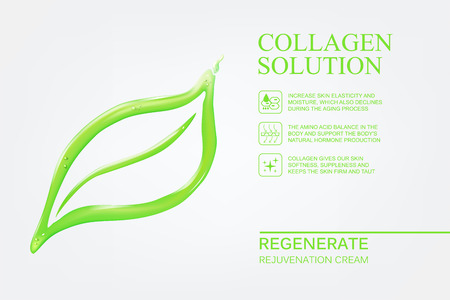 regeneration: Abstract flower leaf in form of water drop. Skin care cosmetics for beauty skin. Organic cosmetic and skin care cream label template over white background. Vector illustration.
