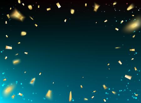 Confeti de oro sobre fondo azul. Abstracción del espacio negro. Tarjeta de la Feliz Navidad. Ilustración del vector.