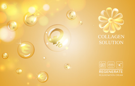 regenerate: Scince illustration of orange background with oil drops. Organic cosmetic and skin care cream. Regenerate face cream and Vitamin complex concept. Beauty skin care design over golden background. Illustration