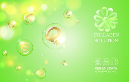 e liquid: Science illustration of a DNA molecule of vitamin E. Vitamin drop in form of sphere. Organic cosmetic and skin care cream. Vector illustration.