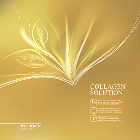 再生クリームと黄金背景の科学イラスト。オーガニック化粧品と肌ケア クリーム。金のコラーゲン溶液のラベルの背景色。ベクトルの図。