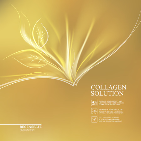 Scince illustration of golden background with regeneration cream. Organic cosmetic and skin care cream. Gold background for label of collagen solution. Vector illustration. Vettoriali