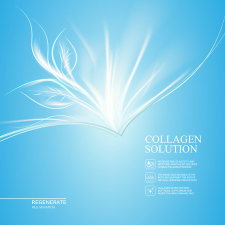 rejuvenation: Scince illustration of rejuvenation cream. Organic cosmetic and skin care cream. Blue background with new life. Vector illustration. Illustration