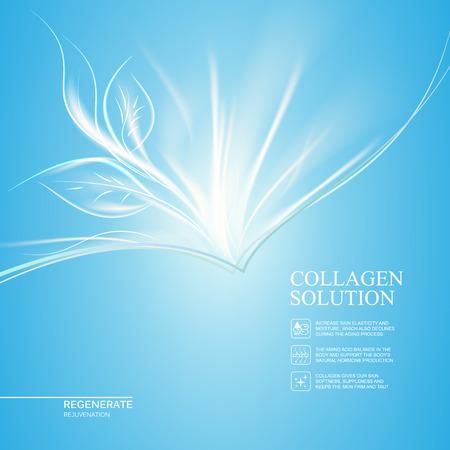 Scince illustration of rejuvenation cream. Organic cosmetic and skin care cream. Blue background with new life. Vector illustration. Illustration