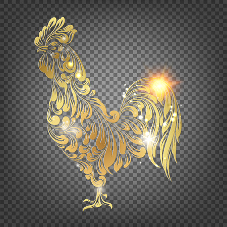 animal cock: Golden Cock - Chinese calendar symbol of 2017 year. Christmas card with icon of the rooster bird over black trasparent background. Happy new year card. Transparent vector illustration.