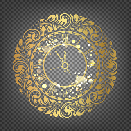 time of the year: Golden time - symbol of 2017 year. Golden christmas clock decoration on glitter over the black background. Christmas card with icon of the golden time. Transparent vector illustration. Illustration