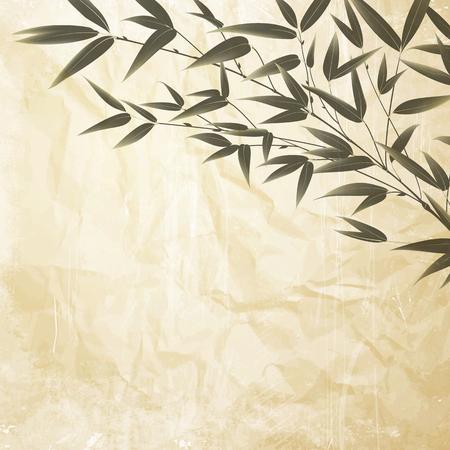 대나무 부시, 잉크 그림 구겨진 된 종이 배경 위에. 대나무 나무 - 일본 정원의 상징의 나뭇잎. 벡터 일러스트 레이 션.