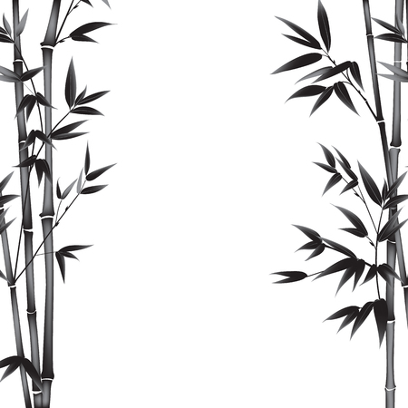 black tree: Bamboo bush painting over white background. Leaves of bamboo tree as symbol of japan culture. Vector illustration.