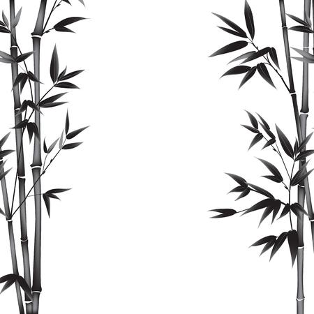 bambu: la pintura de bambú arbusto sobre fondo blanco. Las hojas de árbol de bambú como símbolo de la cultura de Japón. Ilustración del vector.
