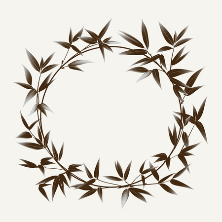 arch: Bamboo bush painting over white background. Leaves of bamboo tree as symbol of japan culture. Vector illustration.