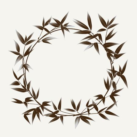 #60176185   Bambus Busch Malerei Auf Weißem Hintergrund. Blätter Von Bambus Baum  Als Symbol Japans Kultur. Vektor Illustration.