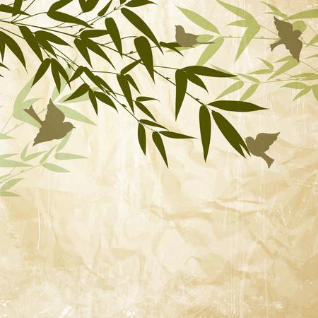 morenas: bambú chino pintado con un pincel sobre el papel viejo. ilustración.