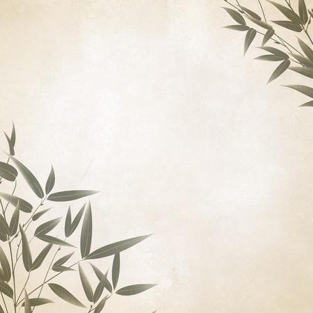 中国の竹を古い紙に筆で塗ります。イラスト。
