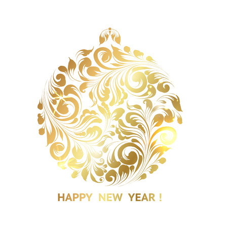 golden ball: Ball decoration - symbol of 2017 year. Golden christmas sphere decoration on glitter over the white background. Christmas card with icon of the golden ball. Happy new year card. illustration.