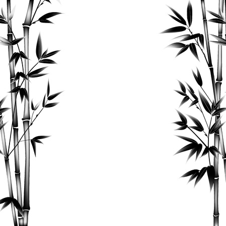 Ink paint bamboo bush. Decorative bamboo branches. Card with black bamboo plants isolated on white background. illustration. Vettoriali