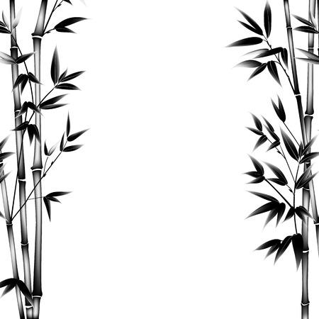 bambu: Tinta arbusto pintura de bambú. ramas de bambú decorativos. Tarjeta con plantas de bambú negro sobre fondo blanco. ilustración.