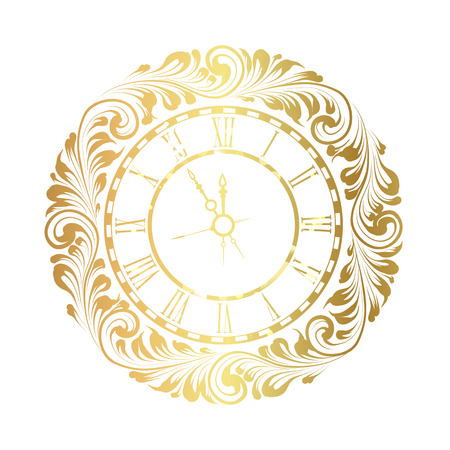 vintage clock: 2017 New Year white background with golden clock. Old clock with roman numbers. Vintage clock isolated over white. illustration. Illustration